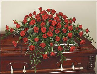 All red rose casket spray