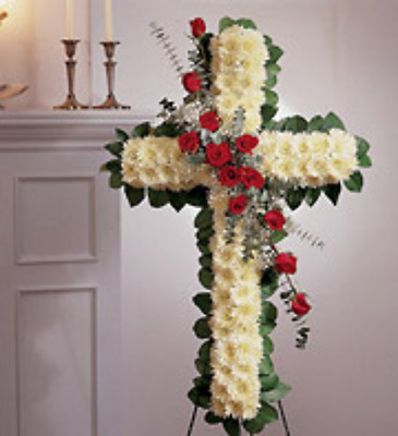 Cross Spray with red rose's