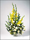 Sympathy yellow and white urn arrangement