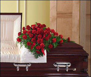 All red casket spray