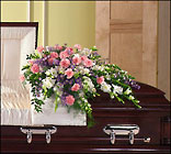 Pink, lavender and white casket spray