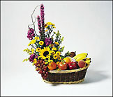 Mixed Fruit and Fresh Floral Arrangement