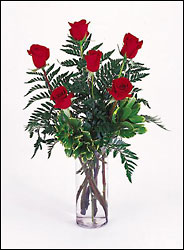 1/2 Dozen  Roses arranged in vase select your color