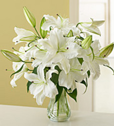 All white lily arrangement